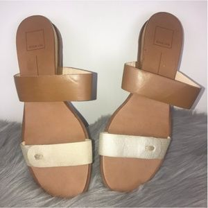 Dolce Vita Nude Brown Slide On Two straps Sandals